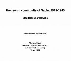 Karczewska History Title Page